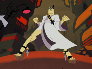 Samurai Jack rocking a pair of stilettos