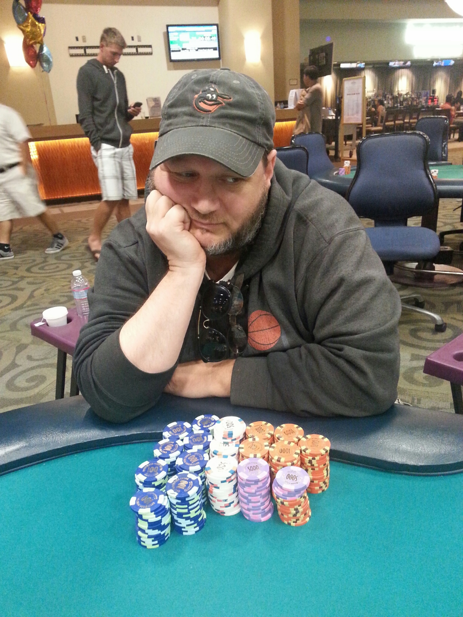 """""""At home at the game I love to play AND CHECK OUT MY STACK!!"""" - Poker Tournament at Hollywood Park Casino, California"""