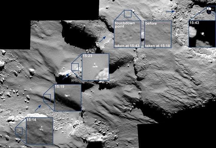 Philae's epic bounce, captured by Rosetta's OSIRIS camera system.