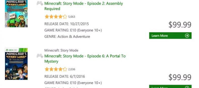 Why Is Minecraft Story Mode $99.99 On XBox 360?