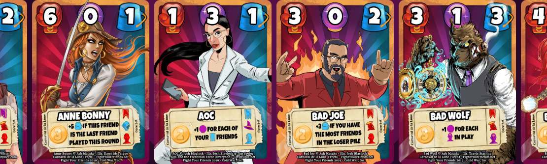 Fight Your Friends - Cards to choose from.